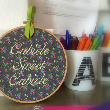 Cubicle Sweet Cubicle Decor -  Funny Embroidery Office Wall Hanging