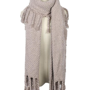 Rosybrown Tassel Trim Scarf