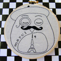 Embroidery Pattern PDF French Beret Moustache Mustache Paris Owl | Luulla