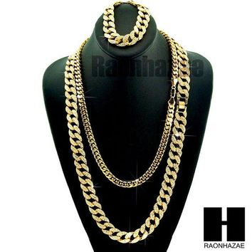 ONETOW Gold Iced Out Lab Diamond Necklace 15mm 30' 24' Miami Cuban Link Chain, Bracelet