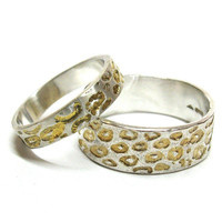His and Hers Leopard Wedding Rings With Gold Detail