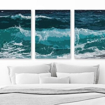 OCEAN WATER Waves Wall Art, Beach Ocean CANVAS or Prints Coastal Bedroom Wall Decor, Coastal Home Decor, Ocean Waves Artwork Set of 3 Decor