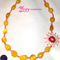 Yellow agate white pearl purple aventurine pink seed beads chunky flower necklace jewelry gift