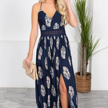 Isle Blue Floral Maxi Dress