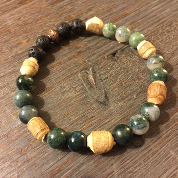 Bracelet, Aventurine, Indian Agate, Lava Rock (8 mm beads) and 1 ml of Essential Oil for Diffusing/AromatherapyOil