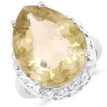 Natural & Ethically Mined 13.72CT Pear Cut Yellow Oro Verde Ring