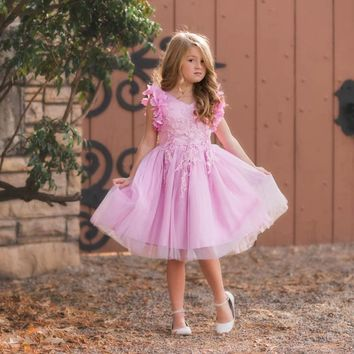 Ariana Pink Lavender Petal Sleeve Satin & Lace Dress