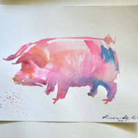 Pig Painting, Pig Art, Pig Wall Art, Pig Watercolor, Animal Watercolor, Animal Painting, Animal Art, Custom Watercolor, Watercolor Wall Art