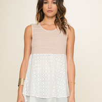 Kelly Babydoll Lace Contrast Tank- Sand