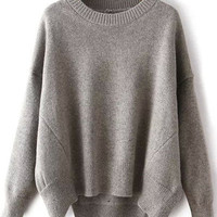 Light Grey Round Neck Split Loose Sweater