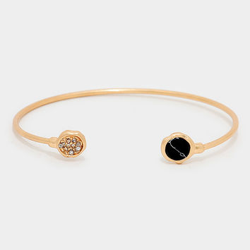 Circle Natural Stone Turquoise Cuff Bangle Bracelet - Gold / Black