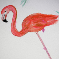 Pink Flamingo Canvas Painting