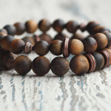 Brown bracelet tiger eye bracelet Mens matte bracelet Beaded bracelet double boho accessories Energy gemstone meditation gift for boyfriend