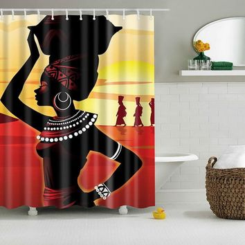Bath Curtains Modern Beach Shells /Custom Distinctive Cartoon African Woman Waterproof Bathroom Shower Curtain