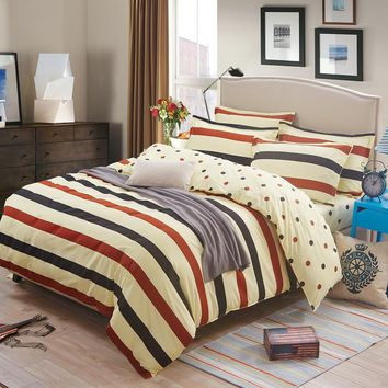 Cotton bedding Duvet Cover set 3/4 pcs Thicker soft comforter Cover Bedding set Striped Style Queen Full Twin size