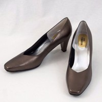 Ros Hommerson Leather Shoes High Heels Metallic Brown Size 8 N  EU 38.5