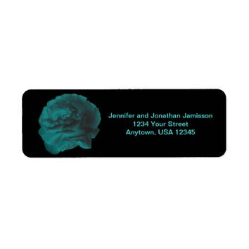 Teal Rose on Black Return Address Labels