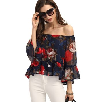 Off The Shoulder Butterfly Blouse