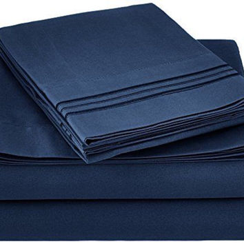 Sweet Home Collection 1800 Thread Count  4 Piece Deep Pocket Bed Set, Queen,Blue