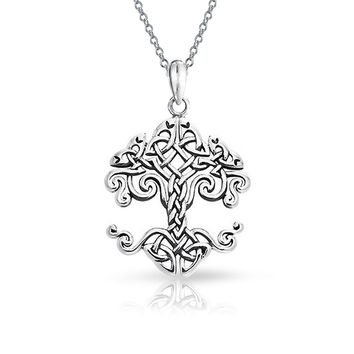 Tree Of Life Pendant Celtic Knot Wishing Tree Necklace Sterling Silver
