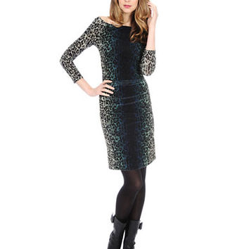 Kay Unger Animal Print Ombre Sheath Dress