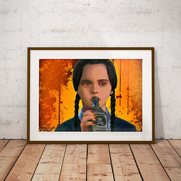 Wednesday Addams Christina Ricci The Addams Family Poison Bottle Comedy Horror Movie Art Work Print
