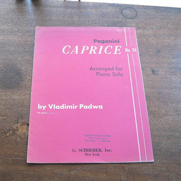 Rare Sheet Music for Paganini Caprice No. 24; Solo Piano - Paginini Caprice for Solo Piano Sheet Music - Schirmer Paganini