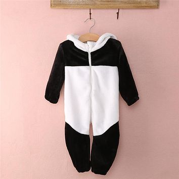 New Arrival Baby Boy Girl panda Hooded Zipper Rompers Cute Baby Warm Costume Onesuit Panda Climbing Warm Pajamas Romper Coverall
