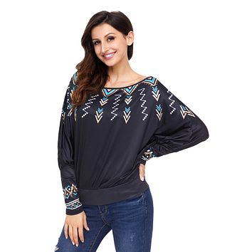 Chicloth Black Printed Puff Sleeve Skew Neck Blouse