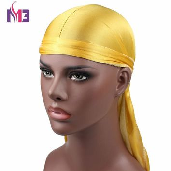 New Fashion Men's Satin Durags Bandanna Turban Wigs Men Silky Durag Headwear Headband Pirate Hat Hair Accessories