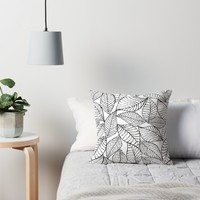 'Leaves in black' Throw Pillow by juliagrifol