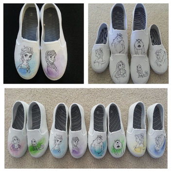 Disney Princesses Ariel and Belle, Little Mermaid/Beauty and the Beast Custom Made shoes!