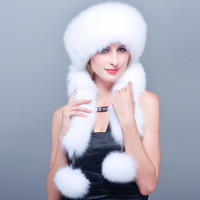 HM002 Real genuine fox fur hat winter women's warm ear caps with 3 colors