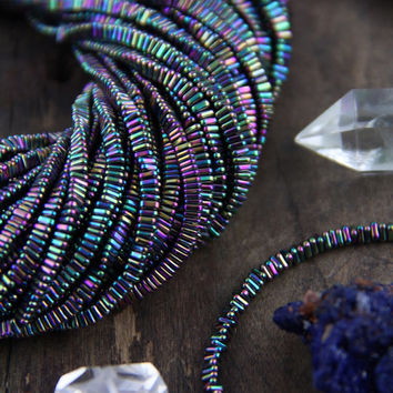 Peacock Triangle: Shimmering Dark Rainbow Blue, Purple Electroplated Hematite Beads 3x1mm, 1mm Hole, Glittery Designer Jewelry Making Supply