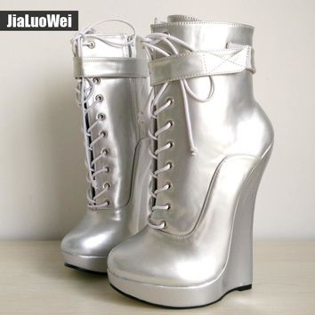 2017 Summer New Arrive Sexy Fetish Super High 18cm Wedge Heel Pointed Toe Zipper Cross-tied Ankle BALLET Boots Plus Size 36-46