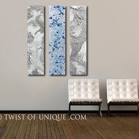 Modern Abstract Painting / CUSTOM 3 set Painting / 48 x 10 inch / Industrial decor / Blue, white, silver, gray/ Twist of unique