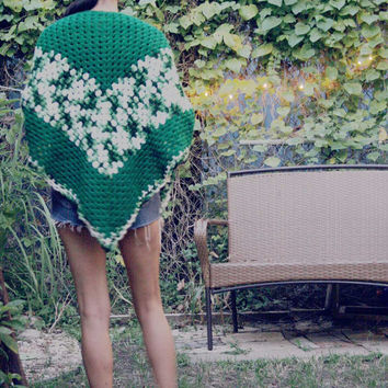 Bohemian Crochet SHawl n shades of green / Fall Fashion