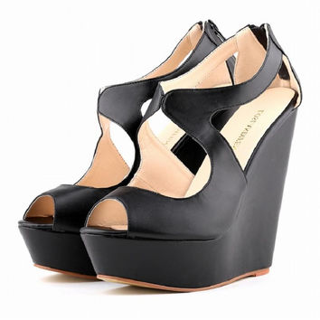 thick sole bottom creepers women peep toe cut out fretwork matte leather platform wedge heels increasing pumps 35-42 plus size