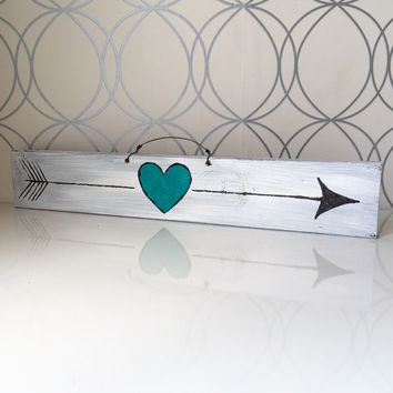 Turquoise Tribal Arrow Wood Sign / Heart Sign / Wall Art / Love Sign