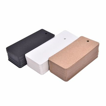 50 pcs/lot Kraft paper hang tags Price Tag Blank Note Card Wedding Party Favor Price Punch Label Gifts Stationery Supplies 4*9cm