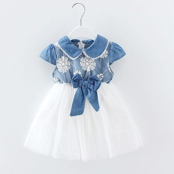 Infant Newborn Baby Girl Lace Denim Tulle Pageant Party Ball Tutu Princess Dress