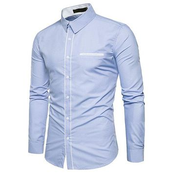 Mens Casual Business Bust Pocket Single Breasted Long Sleeve Solid Color Dress Shirts