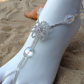 Bridal Rhinestone Barefoot Sandles, Wedding Destination, Foot Jewelry, Beach Wedding