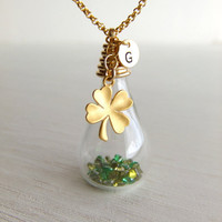 Lucky Shamrock Glass Jewelry Necklace, Clover Charm, Personalized Jewelry, St. Patrick's Day, Emerald, Peridot, Gift for Her, Friendship