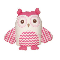 owl pillow, chevron owl, stuffed owl, decorative baby pillow, pink -white pillow, pink nursery decor,