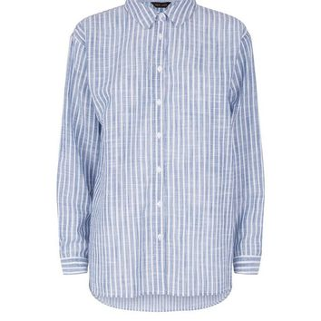 Blue Stripe Drop Arm Shirt | New Look
