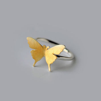Gold Butterfly Ring Sterling Silver, silver butterfly ring,make to order for size 5.6 to size 7.5,gift for her,Silver Ring,butterfly jewelry