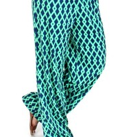 Cool Night Green And Navy Palazzo Pants | Monday Dress Boutique