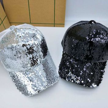 NEW Sequins Paillette Bling Shinning Mesh Baseball Cap Striking Pretty Adjustable Women Girls Hats For Party Club Gathering