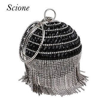 Bolsa Women Round Shape beaded Evening Bags Tassel Diamond Bridal Wedding Party Day Clutche Ball Purse Chain Shoulder Bags Li745